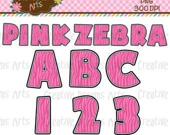 40% Off! Pink Zebra Alphabet Digital Clipart Instant download