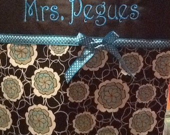 Personalized black, grey, and teal with flower pattern