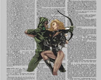 Upcycled Dictionary Art Print - Comic Book Super-Hero: ARROW+CANARY Order Matted Ready-to-Hang Gift or Just the Print.