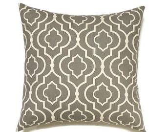 Gray Pillow, 16x16 Pillow Cover, Decorative Pillow, Geometric Pillows, Decorative Pillow, Modern Pillow Covers, Dalgety Panorama Gunmetal