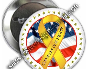 God Bless Our Troops 2.25 inch button