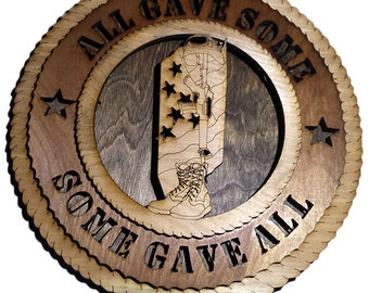 Some Gave All Memorial Laser Cut Plaque 10.5""