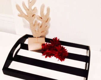 Black and white striped tray. Painted tray. Wood tray. Home decor.