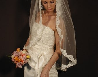 "Manitlla wedding veil - 42"" long finger tip length. Lace veil with beaded pearls."