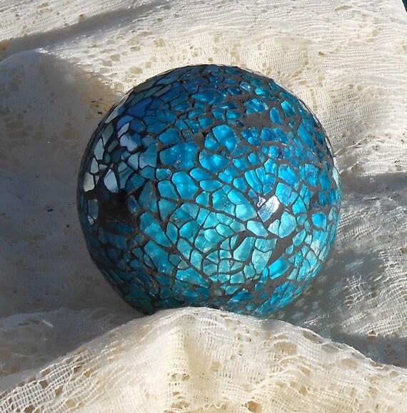 Balls Decoration Bowls Flowers TURQUOISE BLUE Set 4 New Reduced 2014
