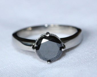 2ct Black Diamond Solitaire ring in Titanium or White Gold - engagement ring - wedding ring - handmade ring