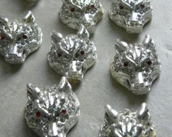 Silver tiger heads connectors links ornate with crystals DIY jewelry supplies 30mm X 25mm