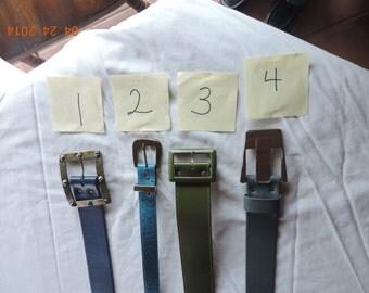 Vintage Navy Blue belt, olive green leather belt, gray leather belt , turquoise leather belt