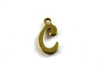 "5x Letter ""C"" Brass Initial Charms - M071-C"