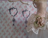 Reserved for Cyndi, Kid Made, Art Nouveau Heart 'n Victorian Key Earrings, Silver Plated, Antiqued to Perfection, add plastic hooks