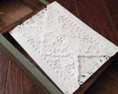 Set of Vintage Lace Envelopes: Paper Lace Doily Wedding Invitation Envelopes, Set of 10