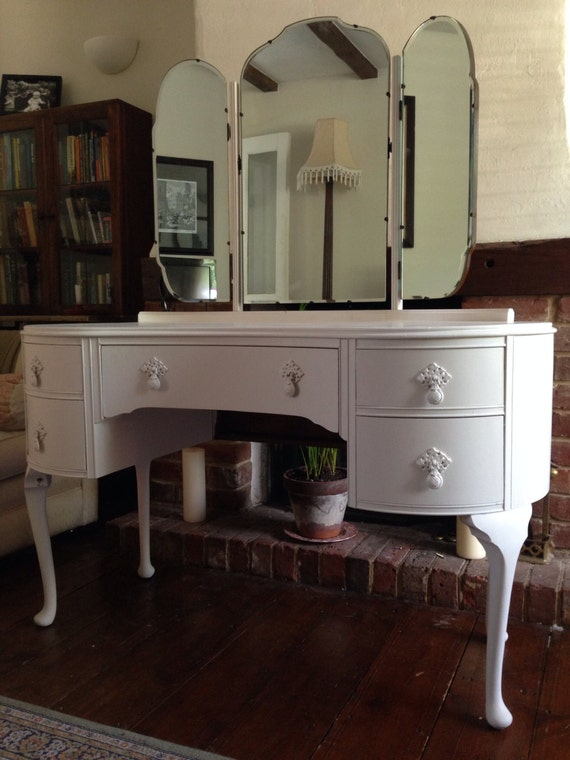 Vintage Hand Painted Butilux Dressing Table Queen Anne Legs