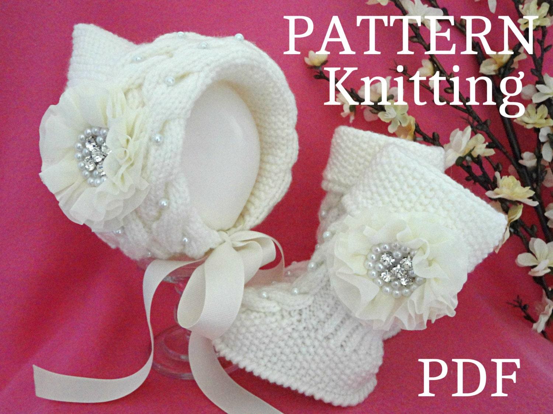 Knitting Patterns For Baby Girl Bonnets : Knitting PATTERN Baby Set Baby Bonnet Baby Hat Cap Knitted
