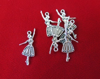 """10pc """"Dancing girl"""" charms in antique silver style (BC38)"""