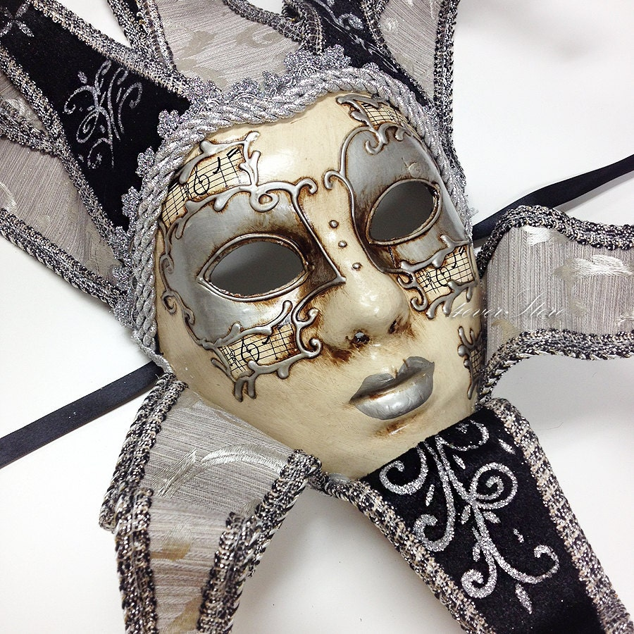 Classic Venetian Masquerade Theater Jester Mask w/ by ...