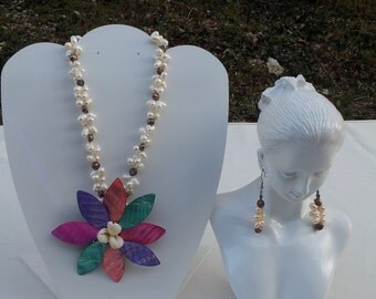 Handmade necklace with real fresh water pearl and shell # 00N15