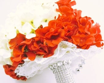 Red and Ivory Bridal Bouquet, Rhinestone Handle Bouquet, Red and White Wedding, Brooch Bouquet