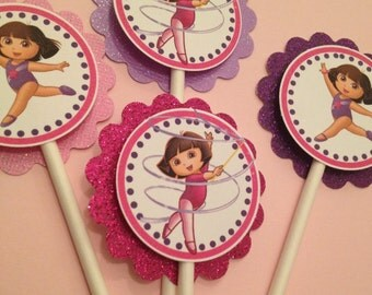 Dora toppers, Dora the explorer cupcake toppers, dora the gymnast toppers