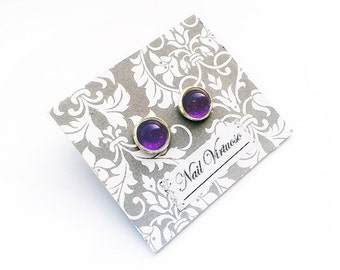 Purple & Pink Glitter Earring Studs - Nail Polish Earrings - 10mm Cabachons - Lead and Nickel Free - Silver Plated Brass Earrings