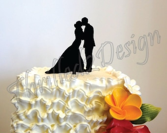 6 inch Bride Groom Silhouette CAKE TOPPER - Celebrate, Party, Cake Decoration