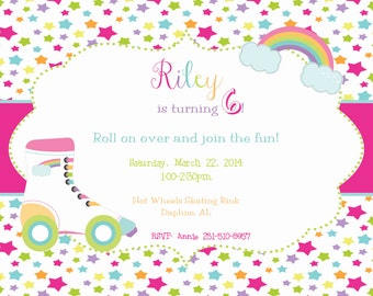 Stars and Rainbow Rollerskate Party Invitation