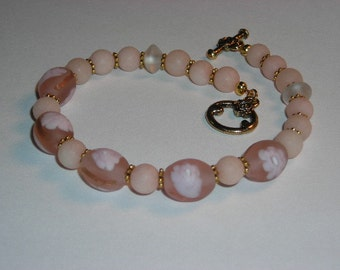 Hand Painted Glass Bead and Pink Jade Bracelet