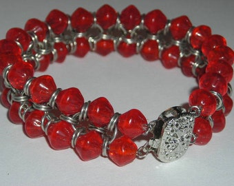 Red Bicone Bead and Jumpring Bracelet