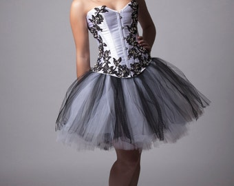 Custom White and Black Crystal Lace Corset Prom Dress Bridesmades