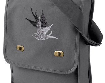 Light and Shadow Swallows Embroidered Canvas Field Bag