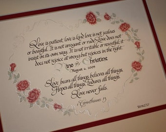 First Corinthians 13 with Roses - Personalized Hand-done original Art and Calligraphy