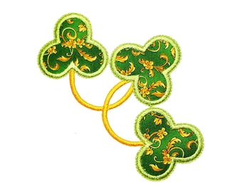 "Clover Corner Applique Machine Embroidery Design Pattern in 3 sizes 4"", 5"" and 6"""