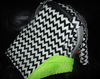 Carseat Canopy Minky Lime Chevron Blanket Cover car seat canopy car seat cover