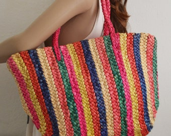 Large Wicker tote,purse,bag,Rainbow ,Large, Tote ,Woven Wicker ,Beach bag,summer purse,pink,green,blue,tan,boho bag