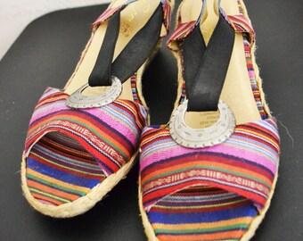 Espadrille Wedge Sandals ,shoes,rainbow stripe,boho,Size 9W