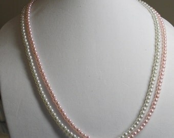 Pink and White Double Stranded Necklace