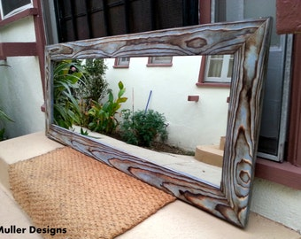 wood mirror sky blue 53.5x22.5