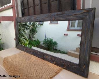 wood mirror navy blue mirror / rustic mirror / mirror/ modern mirror/ full length mirror