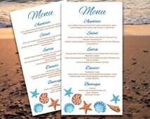 Seashells Beach Wedding Menu Card - Microsoft Word Template - Brown Blue Menu - EDITABLE TEXT - Downloadable Wedding Menu - DIY Wedding