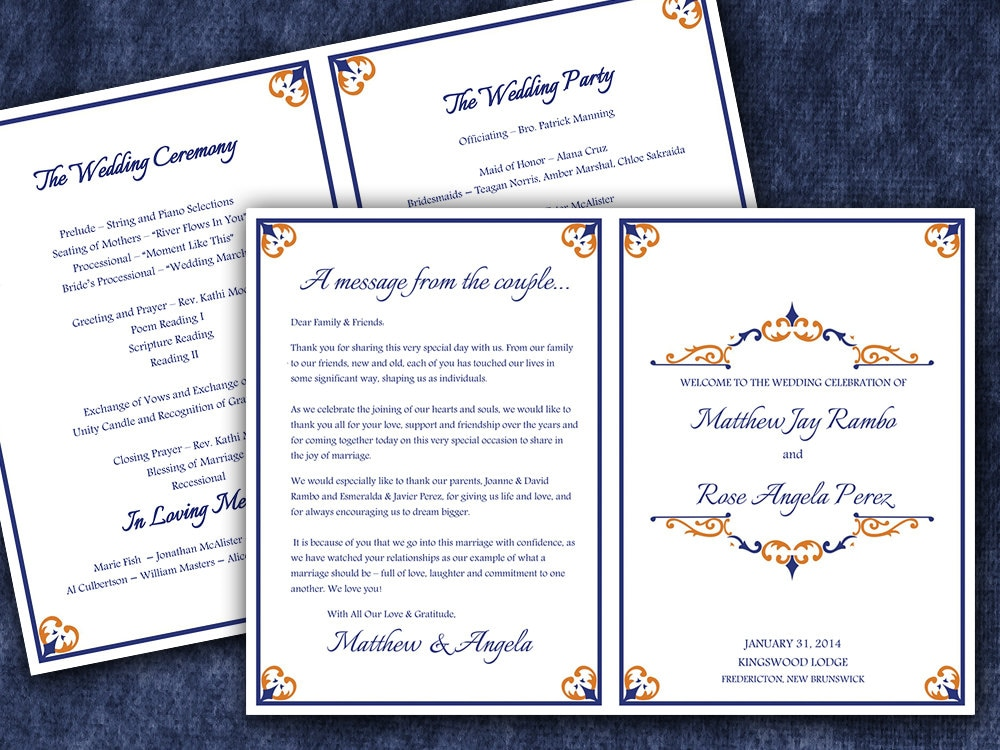 Fold Over Wedding Program Template Download By PaintTheDayDesigns