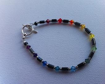 Swarovski crystal haematite rainbow bracelet