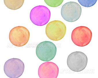Watercolor Bubbles digital clipart set for Personal and Commercial Use, paper crafts, card making, scrapbooking, web design, DIY