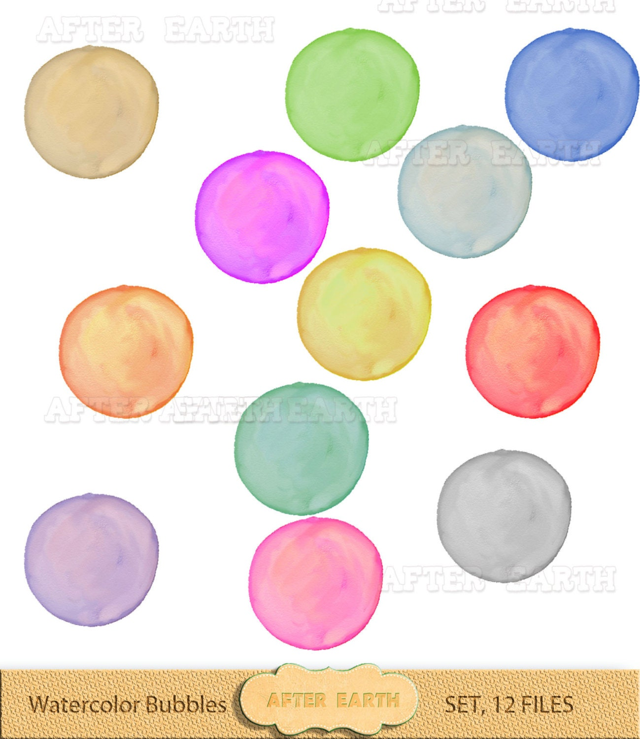 Watercolor Bubbles digital clipart set for Personal and Commercial Use, paper crafts, card ...