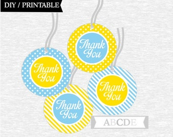 Instant Download Yellow and Blue Thank You tags Birthday party Baby shower DIY Printable (PDSI001)