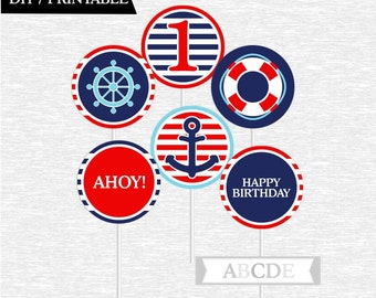 Instant Download Cupcake Toppers First Birthday decorations Nautical Birthday DIY Printable (PDN084)