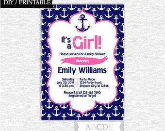 Pink and Navy Nautical Girl Baby Shower invitation 5x7 DIY Printable ( PDN041 )