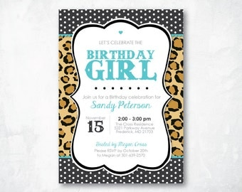 Birthday Party Invitation - Printable TEEL CHEETAH Birthday Party Invitation for Women (Customizable with your details) - Digital file