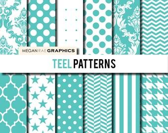 Digital Paper - 12x12 TEEL patterns mix digital scrapbook paper pack (Damask, quatrefoil, chevron, polka dots) - Digital files