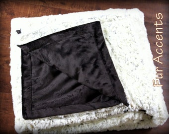 FUR ACCENTS Minky Cuddle Fur Bedspread / Throw Blanket / Ivory Cream and Chocolate Brown / Crushed Minky