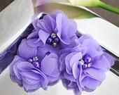 "Set Of 3 Petite Lavender Chiffon beaded flowers - 2"" Pearl and Rhinestone center Flowers - Layered small fabric flower -"