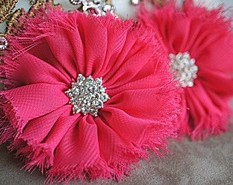 """Set Of 2 Hot Pink Ballerina Flowers with Rhinestone Button - 3"""" Frayed Vintage Ballerina Flowers - Hot Pink Ballerina Flowers"""